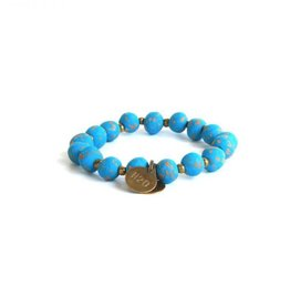 Simbi Haiti Small Clay Bead Bracelet With 2 Small Charms