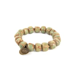 Simbi Haiti Large Clay Bead Bracelet With 2 Small Charms