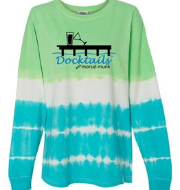 Morsel Munk Docktails Women's Game Day Green/Blue Tie Dye Long Sleeve Shirt