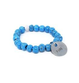 Simbi Haiti Simbi Alaskan Blue Glazed Clay Beads Bracelet
