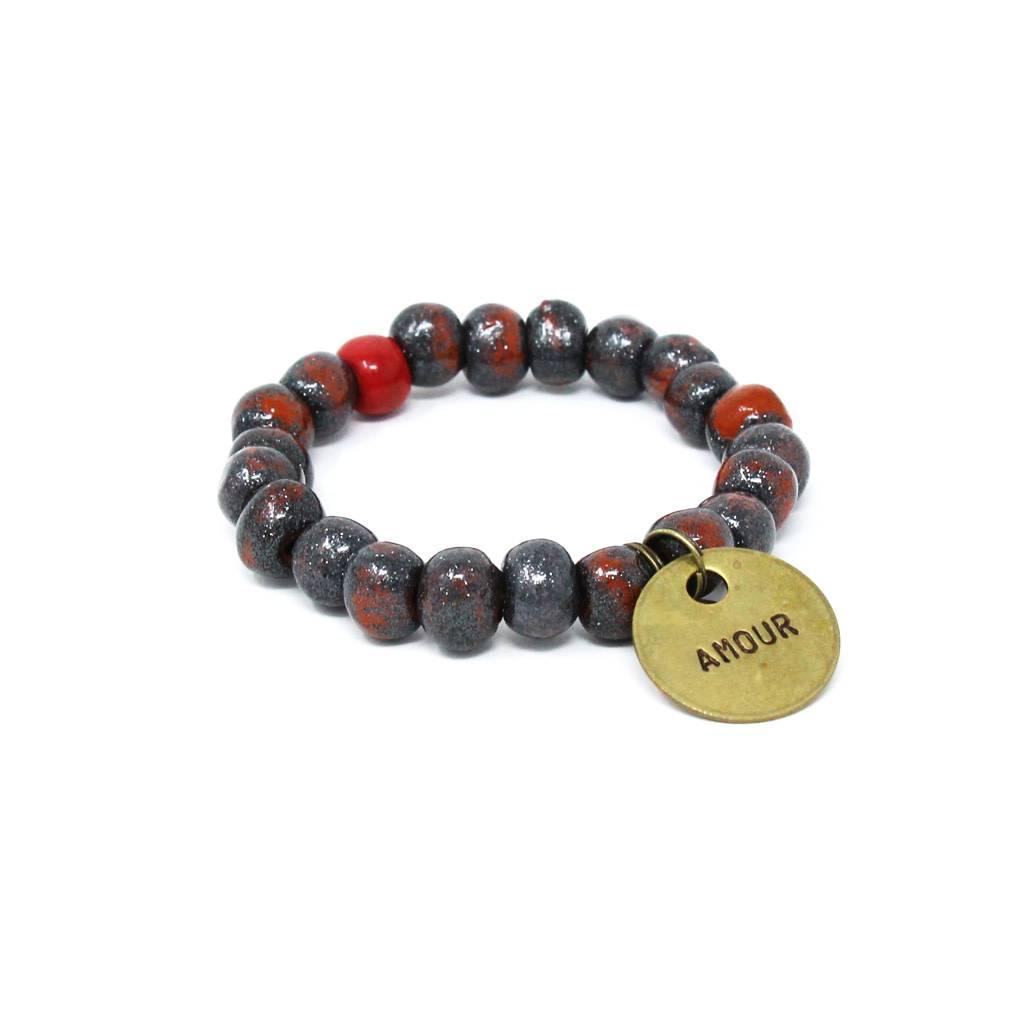 Simbi Haiti Simbi Hematite Clay Beads Bracelet