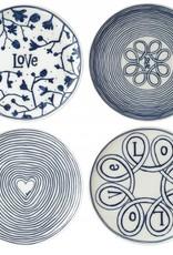 "ED by Ellen Degeneres ED - Ellen Degeneres Assiettes Blue Love Plate 8"" Set/4 Mixed"