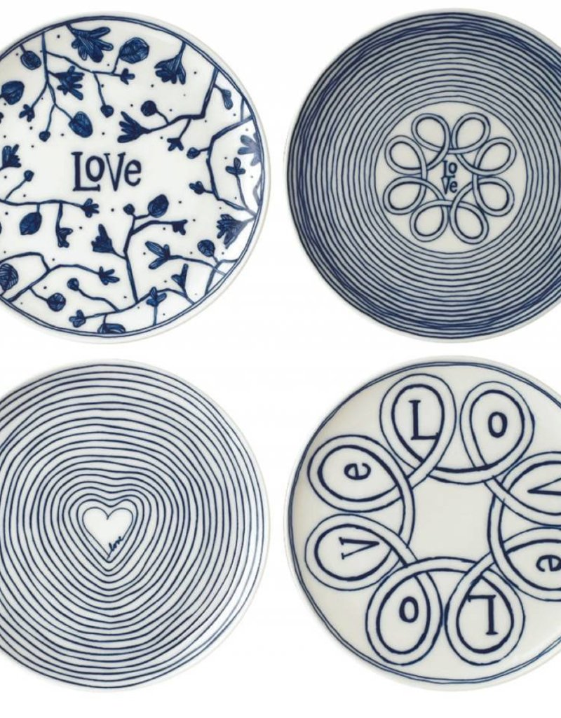"ED by Ellen Degeneres ED - Ellen Degeneres Assiettes Blue Love Plate 8"" Set/4 Mixed"