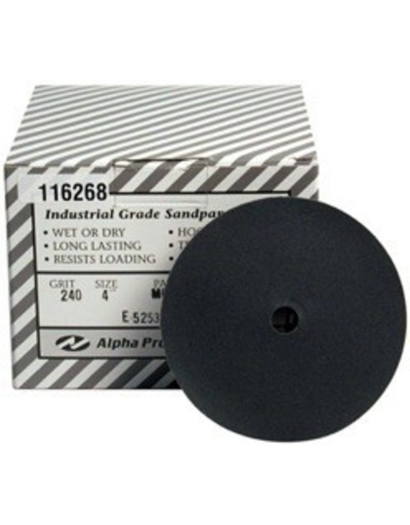 Alpha Professional Tools 4'' Sand Disk 240 Grit Box of 50