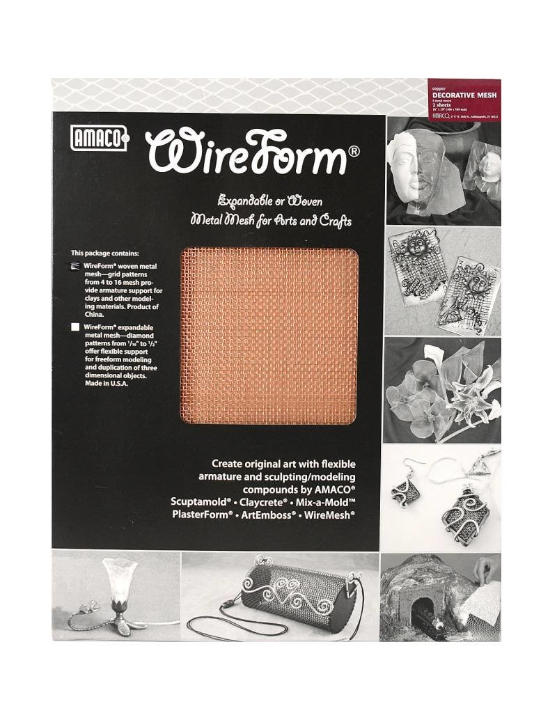 Amaco Decorative Copper Mesh 16''x20'' 2 Sheets Wireform