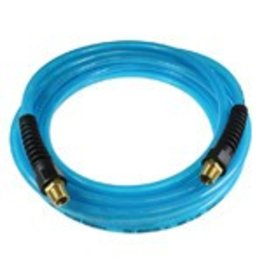 Coilhose Flexeel Hose, 3/8'' x 50', 1/4'' mpt Strain Relief Fittings, Transparent Blue PFE60504T