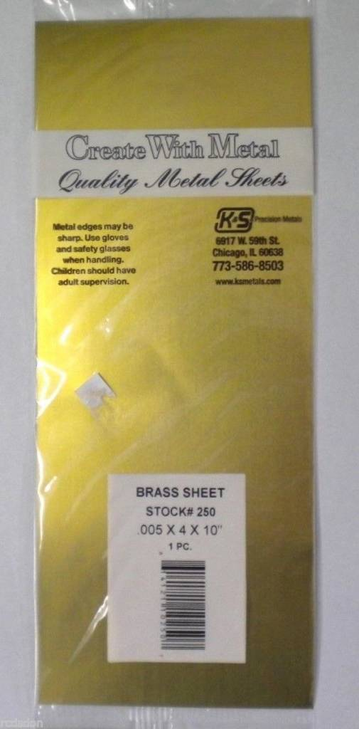 K & S Engineering Brass Sheet .005''x4''x10'' #250