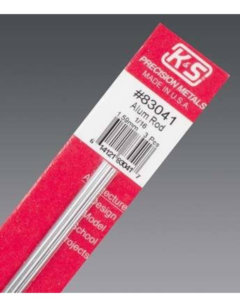 K & S Engineering Aluminum Rod 1/16''x12'' (3pcs) #83041