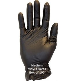 Black Vinyl Gloves Medium Box