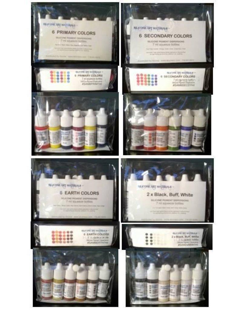silicone art materials Silicone Dispersion Black, Buff, White 7ml 6pc Set