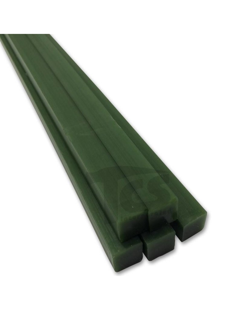Paramelt Wax Sprue Green Square Solid 3/4'' (5 Pieces)