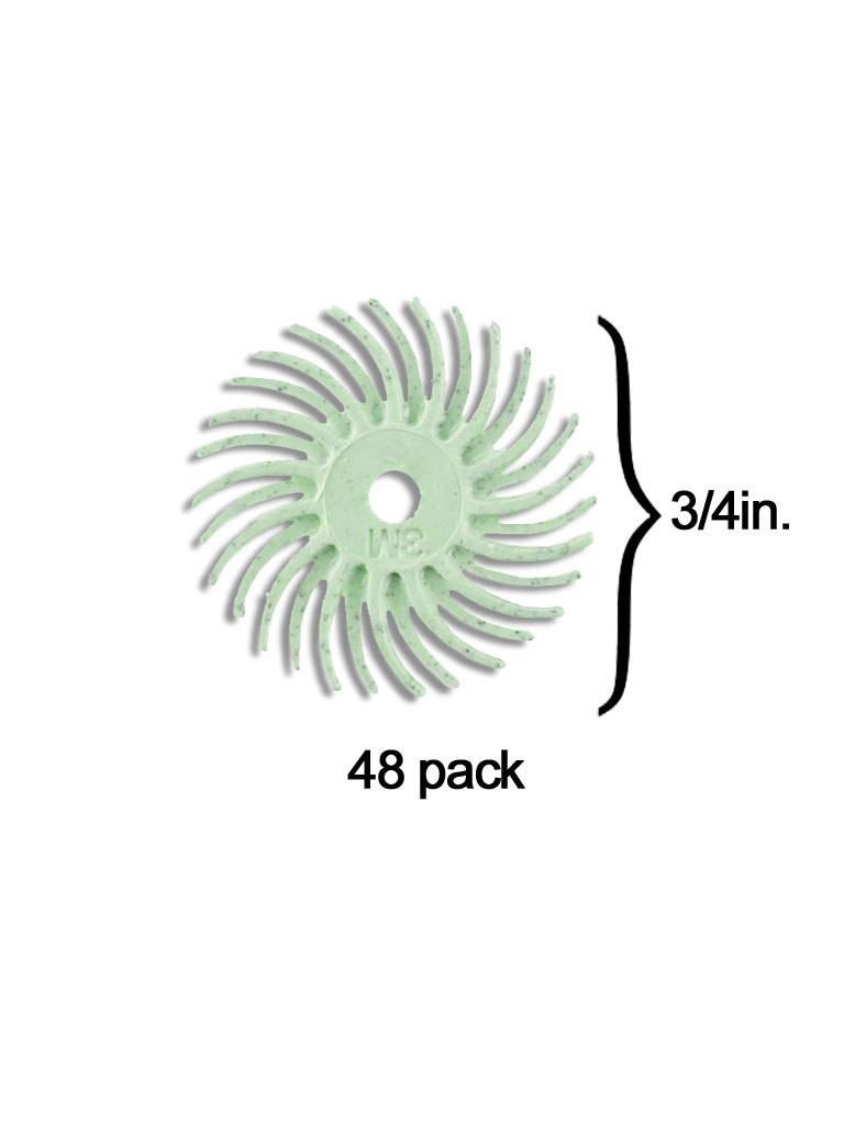 3M 3M Radial Bristle Disc 3/4'' Light Green 1 Micron Polish II (48 Pack)