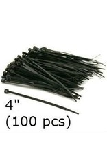 Cable Ties Black Nylon 4'' (100 pcs)