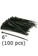 Black Nylon Cable Ties 6'' (100 pcs)