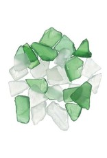 Sea Glass in Mesh Bag - Green and Frosted Clear Mix - 1 lb