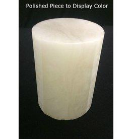 """Stone 3-1/8""""d x 4-1/4""""h White Alabaster Cylinder #221011"""