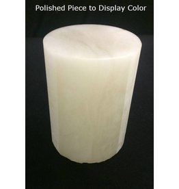 """Mother Nature Stone 3-1/8""""d x 4-3/4""""h White Alabaster Cylinder #221021"""