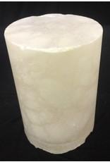 """Stone 3-1/8""""d x 4-3/4""""h White Alabaster Cylinder #221021"""