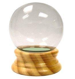 "3-1/2"" Glass Globe Water Ball W/ Wood Base"