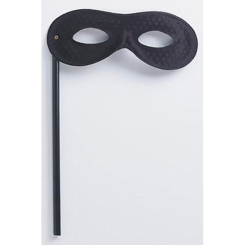 Mask on a Stick - Black Satin