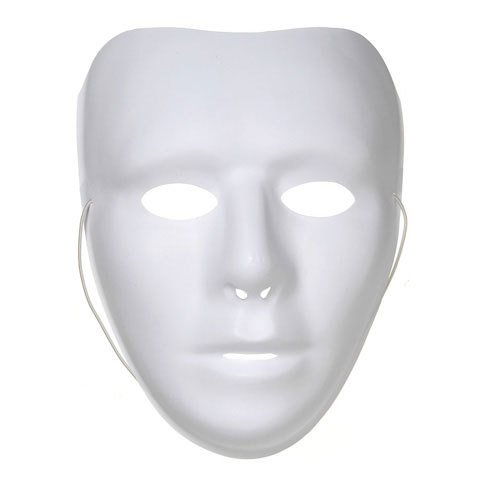Plastic 3/4 Face Mask - White