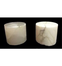 "Mother Nature Stone 5-1/4""d x 4-1/2""h White Alabaster Cylinder #221012"