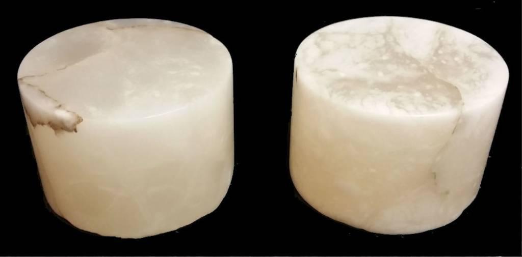 """Stone 4-3/4""""d x 3-1/2""""h White Alabaster Cylinder #221009"""