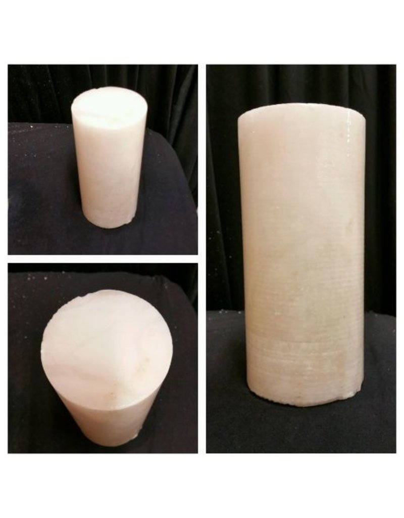 """Mother Nature Stone 3-3/4""""d x 8-1/2""""h White Alabaster Cylinder #221052"""