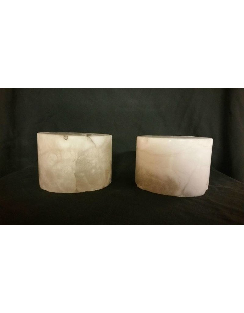 """Mother Nature Stone 5-7/8""""d x 3-4""""h White Alabaster Cylinder #221014"""
