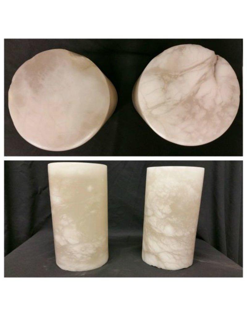 """Stone 4-3/4""""d x 8-1/2""""h White Alabaster Cylinder #221015"""