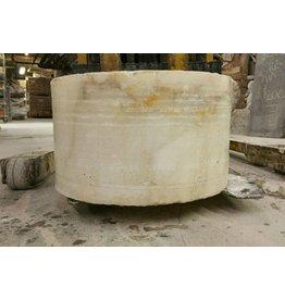 """Stone 17""""d x 10""""h White Alabaster Cylinder #221026"""