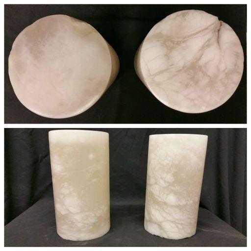 """Stone 4-3/8""""d x 2""""h White Alabaster Cylinder #221025"""