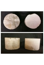 """Mother Nature Stone 4""""d x 3-1/2""""h White Alabaster Cylinder #221027"""