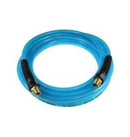 Coilhose Flexeel Hose, 1/4'' x 8', 1/4'' mpt Strain Relief Fittings, Transparent Blue PFE40084T