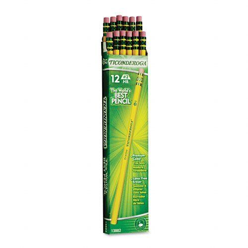 Ticonderoga Wood-Cased Pencils, #2 HB, Yellow, Box of 12