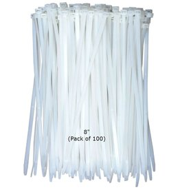 Cable Ties HD White Nylon 8'' (100 pcs)
