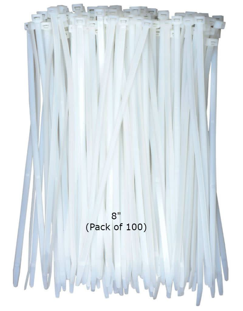 Cable Ties HD White Nylon 8'' (100 pcs)