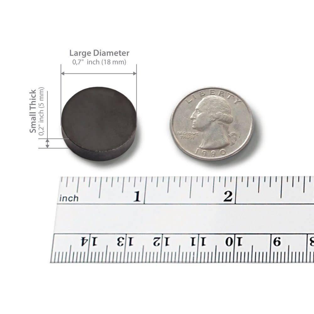 100 pcs Ceramic Magnets - Tiny 18 mm (.709 inch) Round Disc