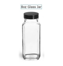 Clear Glass French Square Bottles w/ Black Caps 8oz