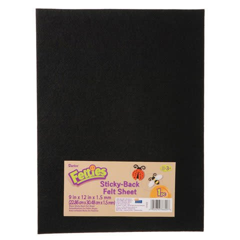 Sticky Black Felt Sheet 9x12