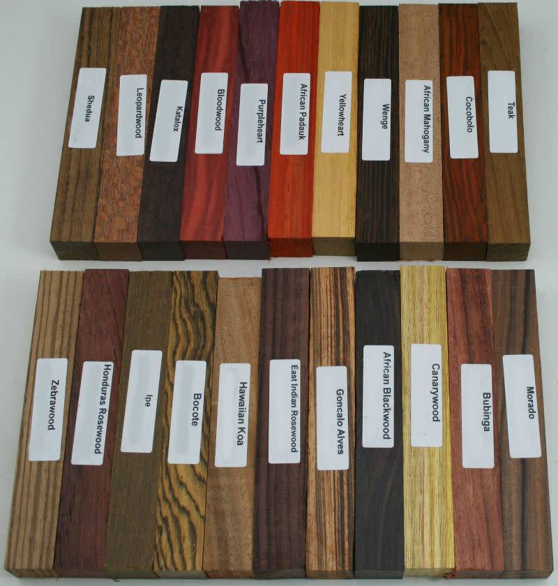 "22 Different Exotic Wood Pen Blanks ¾""x5"""