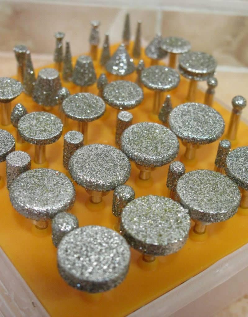 50pc Diamond Burr Set Large Head 1/8 Shank 40 Grit