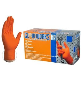 Nitrile HD Orange Gloves Large Box