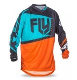 Fly Racing, Jersey manche longue F-16 Jeunes Orange/Turquoise