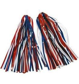 49N, Franges de guidon decoratif Bleu/rouge