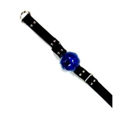 Spartacus Ball Gag, Blue Rubber with Leather Strap