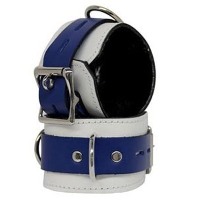 Kookie Fleece-Lined Cuffs, Locking Buckle, White/Blue