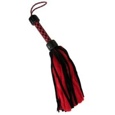 Ruff Lust Suede and Fluff Mini Flogger, Black/Red