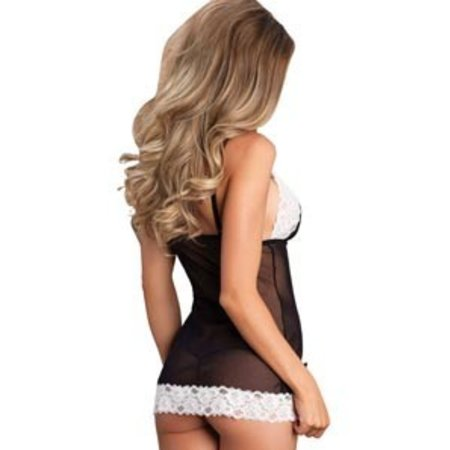Leg Avenue 2 Piece Black and White Chemise with Bow 81513