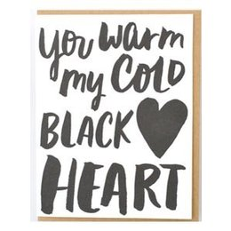 HelloLucky Cold Black Heart Greeting Card